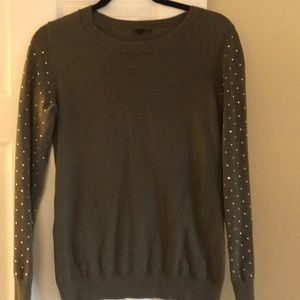 Olive green, sparkle sleeve sweater.